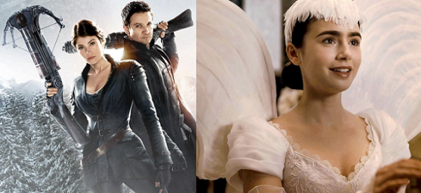 """À esquerda, João e Maria transformados em caçadores de bruxas. À direita, a princesa Branca de Neve no longa """"Espelho, Espelho Meu""""."""