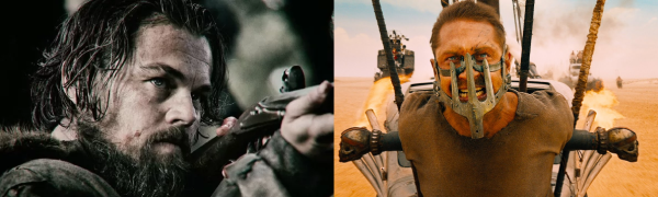 """À esquerda, Leonardo DiCaprio em """"O Regresso""""; à direita, """"Mad Max: Estrada da Fúria"""", maior premiado da noite."""